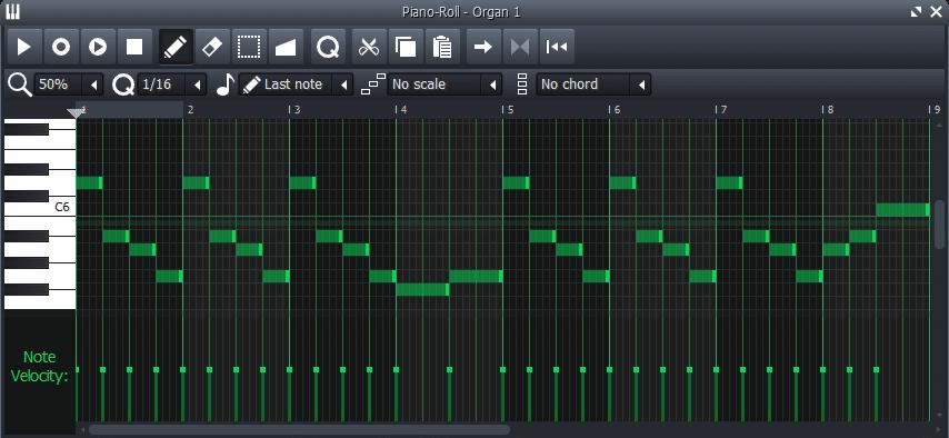 melodía en piano roll