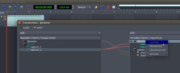 Qtractor grabar audio